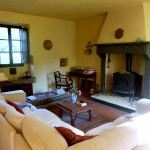 The living room with its new woodburning stove